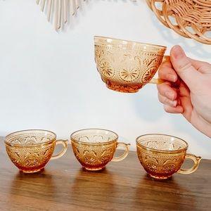 Set of 4 Vintage 1970 Brockway Amber Glass Teacups